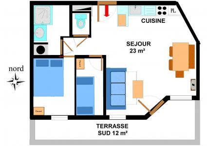 Location au ski Appartement 2 pièces 6 personnes (B05) - Résidence le Bonheur des Pistes - Val Cenis - Plan