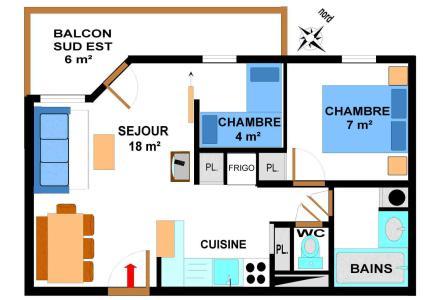 Location au ski Appartement 3 pièces 6 personnes (B28M) - Résidence le Bonheur des Pistes - Val Cenis - Plan