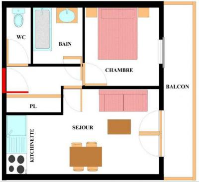 Location au ski Appartement 2 pièces 4 personnes (ALE317) - Résidence les Alpages - Val Cenis - Plan