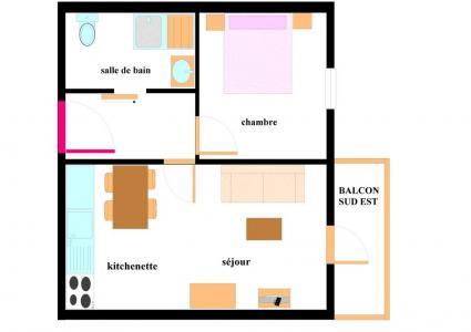 Location au ski Appartement 2 pièces 4 personnes (001) - Residence Les Alpages - Val Cenis - Plan