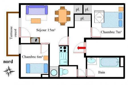Location au ski Appartement 3 pièces 6 personnes (27) - Résidence les Essarts - Val Cenis - Plan