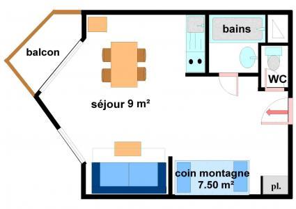 Location au ski Studio coin montagne 4 personnes (233) - Résidence les Hauts de Val Cenis - Val Cenis - Plan
