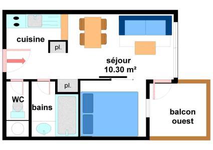 Location au ski Appartement 2 pièces 4 personnes (A015) - Résidence Pied de Pistes - Val Cenis - Plan