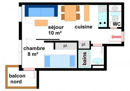 Location au ski Appartement 2 pièces 4 personnes (B011) - Résidence Pied de Pistes - Val Cenis - Plan