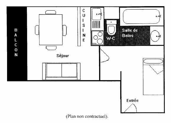 Location au ski Studio 3 personnes (E5) - Residence Le Serac - Val Thorens - Plan