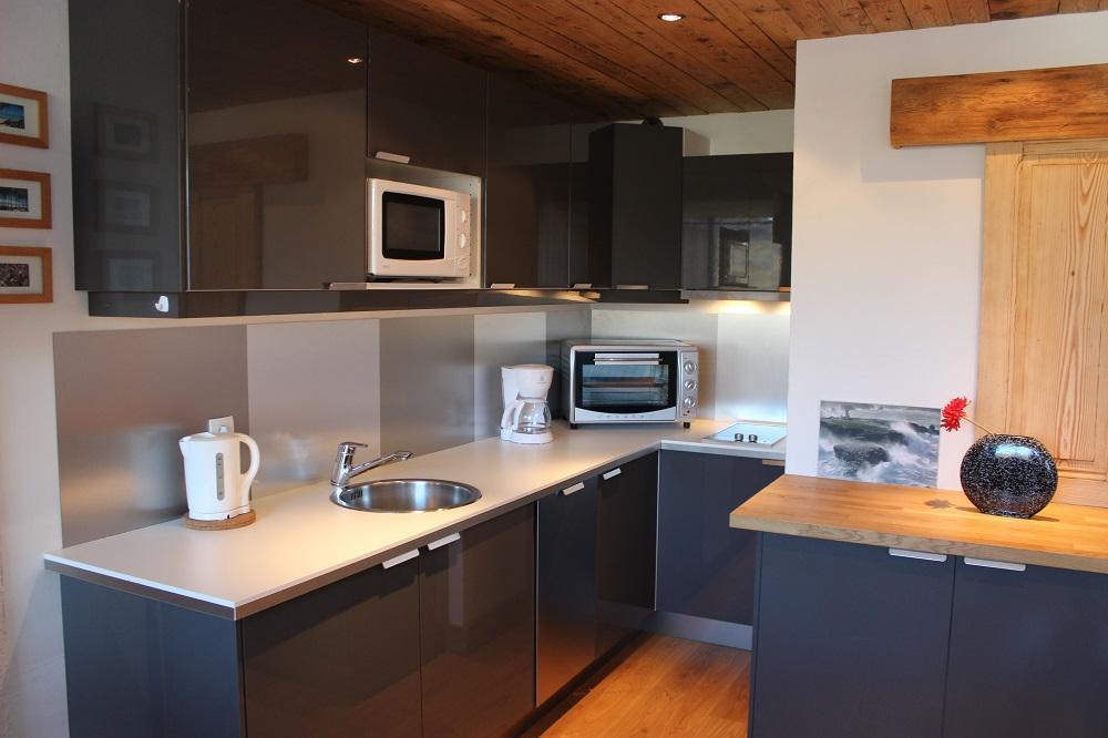 Location au ski Studio 4 personnes (H8) - Residence Le Serac - Val Thorens - Cuisine ouverte