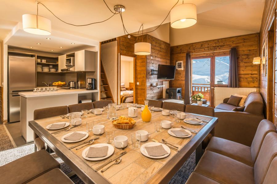 Skiverleih 7-Zimmer-Maisonettewohnung für 12-14 Personen - Chalet Val 2400 - Val Thorens - Wohnzimmer