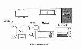 Аренда на лыжном курорте Квартира студия кабина для 4 чел. (1107) - La Résidence les Cîmes de Caron - Val Thorens - план