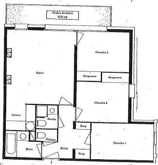 Location au ski Appartement 4 pièces 8 personnes (021) - Residence Le Diamant - Val Thorens - Plan