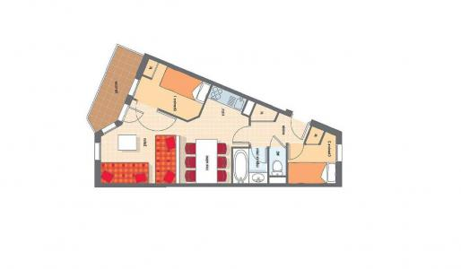 Rent in ski resort 3 room apartment cabin 6 people (H6) - Résidence les Temples du Soleil Nazca - Val Thorens - Plan