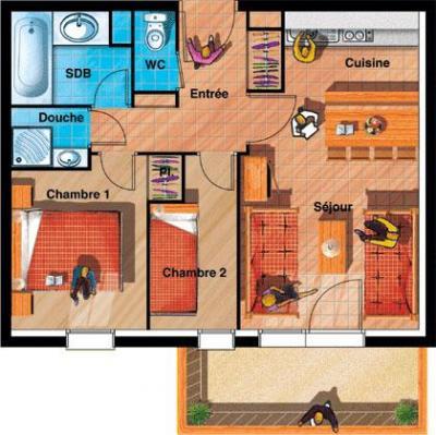 Location au ski Appartement 2 pièces cabine 6 personnes (BBT) - Les Chalets Du Thabor - Valfréjus - Plan