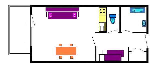 Rent in ski resort Studio sleeping corner 4 people (B102) - Résidence les Alpages - Vars - Plan