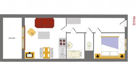Location au ski Appartement 2 pièces 4 personnes (001) - Résidence les Chalets des Rennes - Vars - Plan