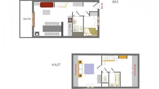 Location au ski Appartement duplex 2-3 pièces 6 personnes (002) - Résidence les Chalets des Rennes - Vars - Plan