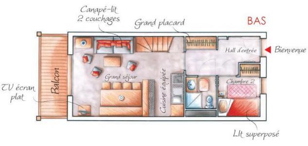 Location au ski Appartement duplex 2-3 pièces 6 personnes - Residence Les Chalets Des Rennes - Vars - Plan