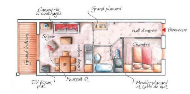 Location au ski Appartement 2 pièces 4 personnes - Residence Les Chalets Des Rennes - Vars - Plan