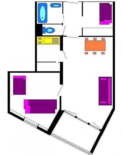 Rent in ski resort 2 room apartment 6 people (808) - Résidence les Fibières - Vars - Plan